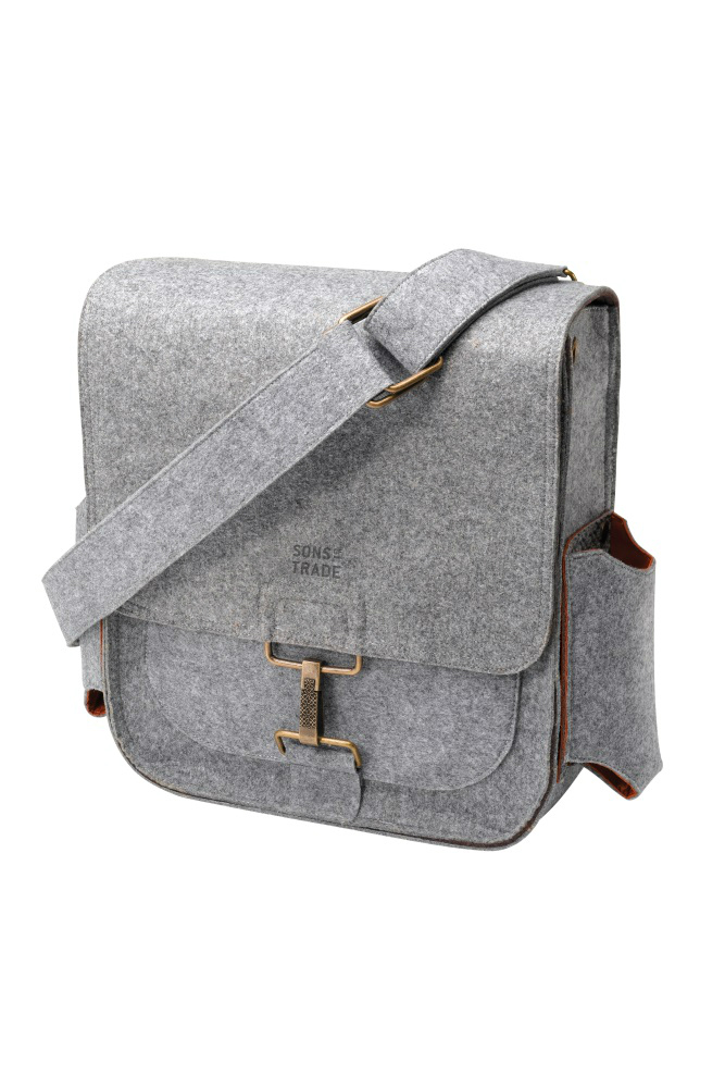 grey man diaper bag