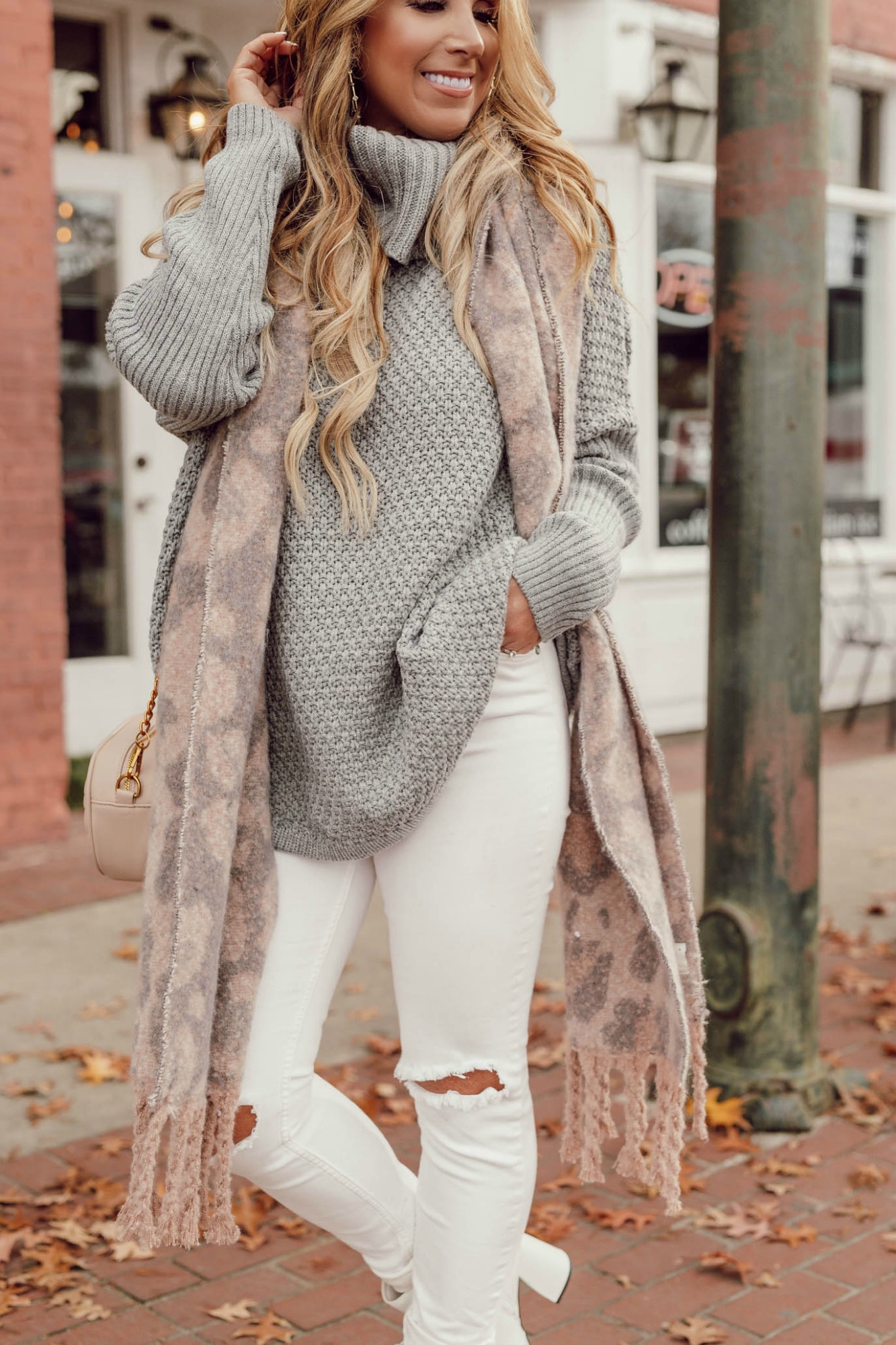 Grey Knit Cowl Neck Long Sleeve Sweater